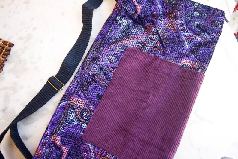 floral velvet corduroy Yoga Mat carrier With drawstring adjuster yoga mat carrier gym tote YOGA MAT Bag pilates bag Purple paisley