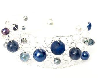 Blue Bracelet, Thin Cuff Bracelet, Beaded Bracelets, Gemstone Bracelet, Silver Bracelet, Wire Knit Jewelry, Unique Handmade Jewelry Gift