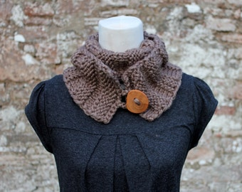SCARF knitted womens - Lions circle scarf  with wooden button in taupe shade, knitwear UK, gift ideas