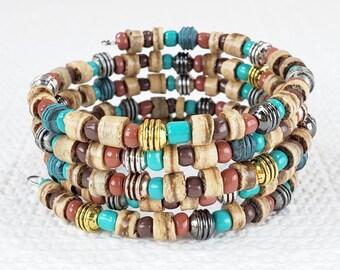 Boho Wrap Bracelet for Women, Boho Wrap Bracelet, Boho Beaded Bracelet for Women, Stack Bracelets for Women, Memory Wrap Bracelet, Boho Gift