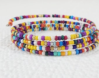 Colorful Wrap Bracelet, Colorful Beaded Bracelet, Multi Color Beaded Bracelet, Beaded Boho Bracelet, Hippie Jewelry, Colorful Jewelry