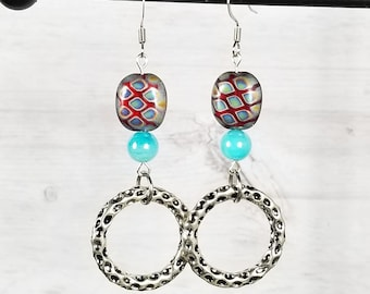 Purple Blue Earrings - Purple Dangle Earrings - Aqua Blue Earrings - Purple Silver Earrings - Bright Blue Bead - Funky Earrings Dangle