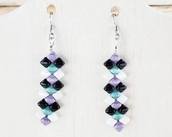 Long Geometric Earrings, Long Beaded Earrings, Geometric Earrings Dangle, Long Earrings White and Black, Geometric Earrings