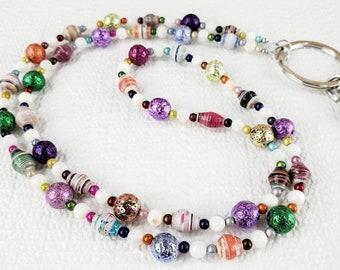 Lanyard Bead Necklace, Lanyard Necklace, Lanyard Bead, Rainbow Bead Necklace, Rainbow Badge Holder, Rainbow Lanyard, Lanyards for Women