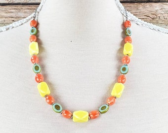 Bright Beaded Necklace, Bright Yellow Necklace, Bright Necklace, Orange Beaded Necklace, Funky Beaded Necklace, One of a Kind Necklace
