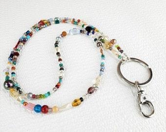 Colorful Lanyard, Colorful Beaded Lanyard, Colorful Accessories, ID Lanyard, Beaded ID Holder, Rainbow Lanyard, Long Lanyard