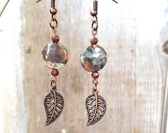 Rustic Boho Earrings - Boho Dangle Earrings Bead - Rustic Earrings - Rustic Dangle Earrings - Earthy Boho Jewelry - Agate Dangle Earrings