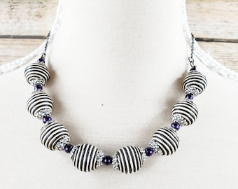 Black and White Statement Necklace, Black and White Striped Beads, Black and White Chunky Necklace, Black and Purple Necklace, Bold Necklace