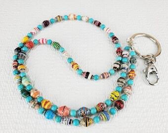 Boho Lanyard, Boho Beaded Lanyard, Boho ID Holder, Lanyard Bead Necklace, Lanyard Necklace, Lanyards for Women, Paper Bead Jewelry