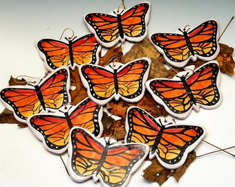 Monarch Butterfly Insect Tree Holiday Christmas Ornament or Wall Hanging - Handmade Majolica pottery