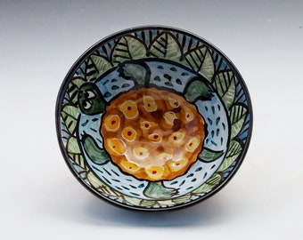 Brown Turtle Small Pottery Cereal Serving Bowl - Handmade Majolica - Whimsical Animal Series - ornate pattern