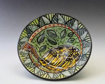 Eastern Box Turtle Medium Pottery Serving Bowl - Handmade Majolica - Reptile Design - Pasta or Soup bowl