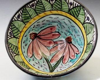 Pink Purple Coneflower Flower Medium Pottery Serving Bowl - Handmade Majolica - Mandala design - for Salad, Soup, Noodle