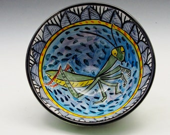 Green Praying Mantis Insect Pottery Serving Bowl - Handmade Majolica - Cereal or Soup