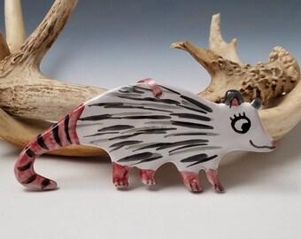 Opossum Animal Holiday Ornament or Wall Decor - Handmade Majolica pottery - nature gift