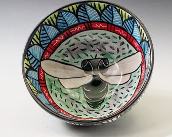 Cicada Pottery Small Serving Bowl or Cereal Bowl - Handmade Majolica - Cereal or Soup bowl