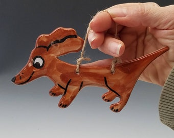 Red Brown Dachshund Pet Dog Pottery Holiday Ornament - Handmade Majolica - Doxie Wall decor