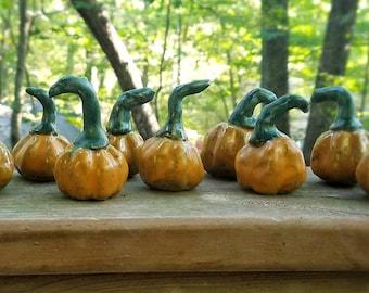 Miniature Clay Orange Pumpkins - Set of Three 3 - Ceramic Mini Pumpkins - Rustic Fall Decor - Handmade Pottery Pumpkins - Halloween decor