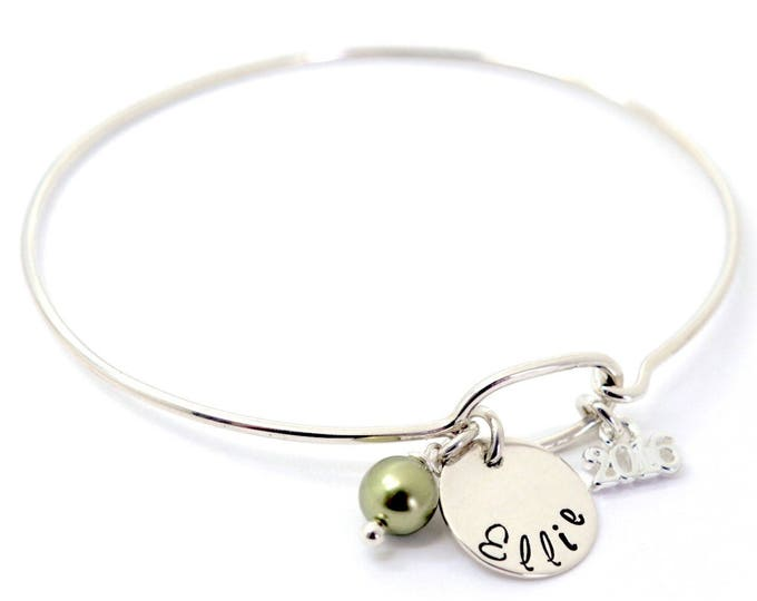 Class of 2018 Dainty Bangle - High School College School Color Birthstone - Personalized Sterling Silver Graduation Charm Bracelet