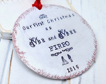 Our First Christmas Ornament, Our First Christmas as Mr and Mrs, Wedding Ornament, Mr Mrs, Married Couple Ornament, First Christmas Married