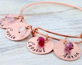 Personalized Grandmother Bracelet, Rose Gold Bracelet, Bangle Bracelet,  Bracelet for Grandma, Grandmother Bangle , Gift for Grandma, Nana