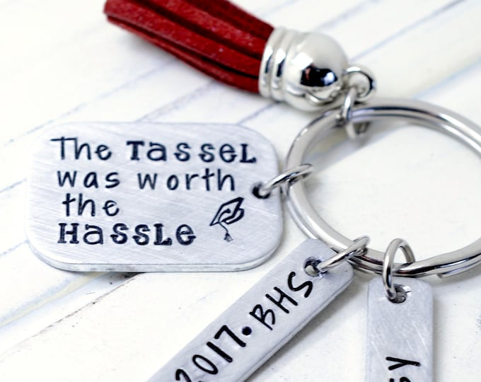 Personalized Graduation Keychain, Class of 2018, Graduation Gift, HandStamped Keychain, Gift for Her, Gift for Him, High School Grad Gift