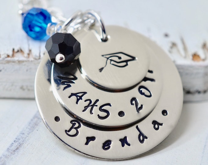 Personalized Graduation Necklace, Senior Necklace, Class of 2018, High School, College, Gift, Graduation Cap Necklace, Hand Stamped Jewelry