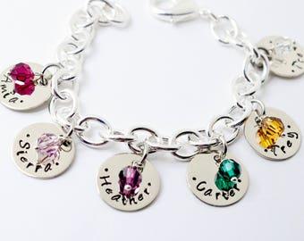 Hand Stamped Bracelet with Kids Names, Personalized Bracelet, Custom Bracelet, Mom, Mommy, Mother, Birthstone