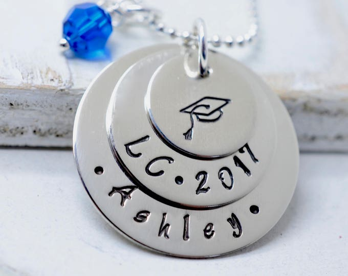 Graduation Necklace, Gift for Her, Custom Necklace, Class of 2018, High School College Graduation, Engraved  Graduate Jewelry, Custom Gift