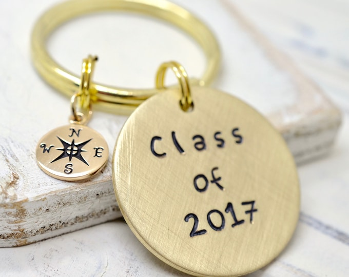 Class of 2018 - Personalized Graduation Keychain - Stamped Keychain, High School College Tech Trade School Graduation Gift