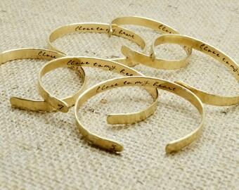 Personalized Cuff Bracelets Set,  Bridesmaid Gift , Bangle, Bridesmaid Jewelry, Custom, Hidden Message, Wedding