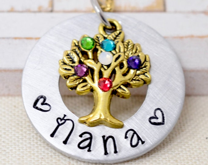 Necklace For Nana, Nana Necklace, Family Tree With Birthstones Grandmother Necklace, Gift For Nana, Gift From Grandkids, Gift for Grandma