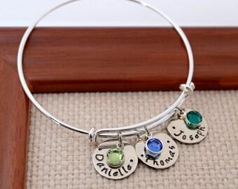 Silver Expandable Bangle Bracelet, Personalized Bangle,  Mother's Gift, Custom Bracelet, Mom, Mommy