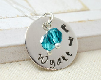 Little Footprints Necklace - Personalized Mom Mommy Jewelry - Mother's Day Gift - New Baby Necklace - Grandma Nana Jewelry - Baby Shower