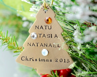Personalized Bronze Christmas Tree Ornament, Hand Stamped Christmas Ornament, Family Names and Birthstones