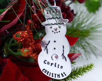 Personalized Snowman Christmas Ornament - Hand Stamped Christmas Ornament - Custom Metal Snowman Ornament - Family Ornament