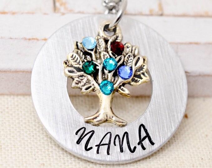 Nana Necklace, Family Tree With Birthstones Grandmother Necklace, Necklace For Nana, Gift For Nana, Gift From Grandkids, Gift for Grandma