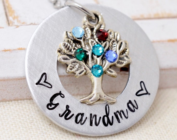 Necklace For Grandma, Grandmother Necklace, Grandma Necklace, Gift For Grandma, Birthstone Tree Necklace For Grandma, Gifts For Grandm