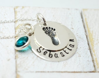 Handmade Personalized Baby Footprint Necklace - Gift for Mom - Stamped Metal Jewelry - Mother's Day Mommy Jewelry - Grandma Nana Jewelry