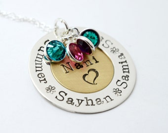 Personalized Stamped Metal Necklace - Grandma Nani Grammy Necklace - Mommy Jewelry - Birthstone Jewelry - Family Necklace - Mother's Day