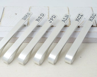 Groomsmen Set Sterling Silver Tie Clips Long - Personalized Wedding Bridal Jewelry Set - Gift for Groom Best Man - Hand Stamped Tie Bars