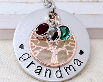 Necklace For Grandma, Grandmother Necklace, Birthstone Family Tree Necklace For Grandma, Gift For Nana, Grandma Necklace, Gift for Grandma