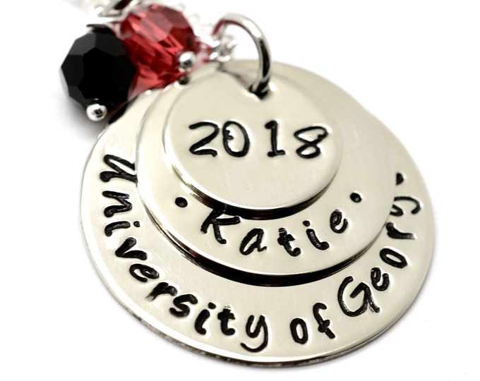Personalized Graduation Necklace, College Necklace, Class of 2018, High School Grad, Graduation Gift Necklace, Hand Stamped Jewelry