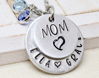 Personalized Mother's Day Necklace, Birthstone Necklace, Hand Stamped Mommy Jewelry, Grandmother Necklace, Gift for Mom, Gift for Grandma