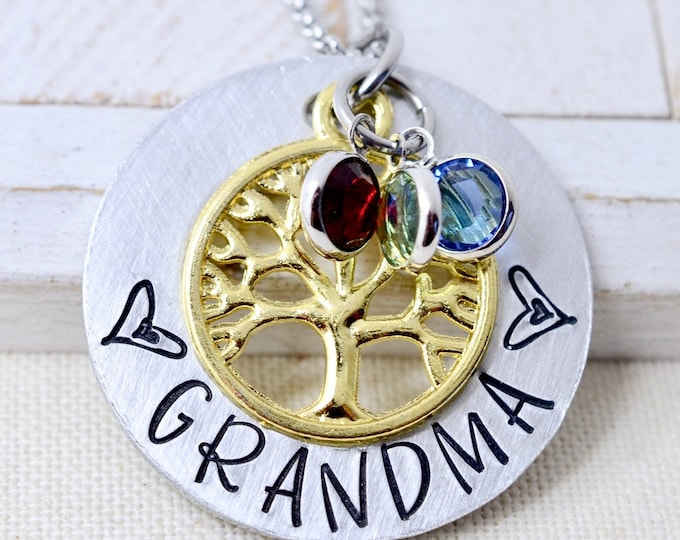 Grandmother Necklace, Birthstone Family Tree Necklace For Grandma, Gift For Nana, Necklace For Grandma, Grandma Necklace, Gift for Grandma