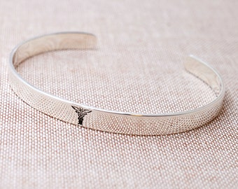 Sterling Silver Medical ID Bracelet - Chronic Illness Alert - Personalized Cuff - Caduceus Bracelet - Hidden Message Medical Alert