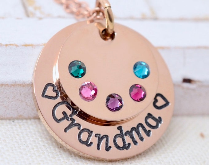Birthstone Necklace, Rose Gold Birthstone Necklace for Grandma,  Gift for Grandma, Grandmother Necklace, Mothers Day Gift, Gift for Mom