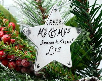 Personalized Husband & Wife Star Ornament, Handstamped Christmas Ornament, Personalized Couple's Ornament, Metal Christmas Decor