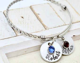 Personalized Names  Expandable Bangle Bracelet, Name Birthstone Bracelet, Mother Family Bangle Bracelet, Kids Names Bracelet , Gift for her