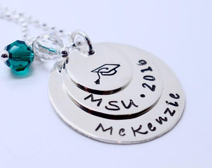 Personalized Graduation Necklace - Sterling Silver Graduation Cap Class of 2018 Necklace - High School College Tech School Graduation Gift